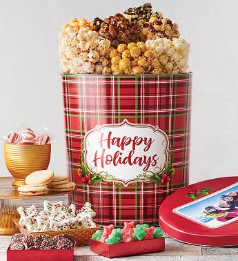 3 12 Gallon Holly Plaid Happy Holidays Premium Snack Assortment