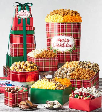 8-Tier Holly Plaid Merry Christmas Tower  Tin