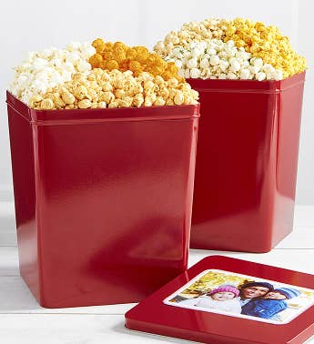 Set Of 2 Tins Cheese Trio  Zesty Trio Popcorn
