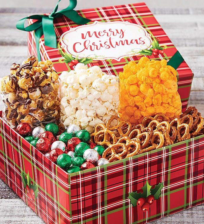 holly plaid merry christmas petite snack box - Christmas Care Package Ideas