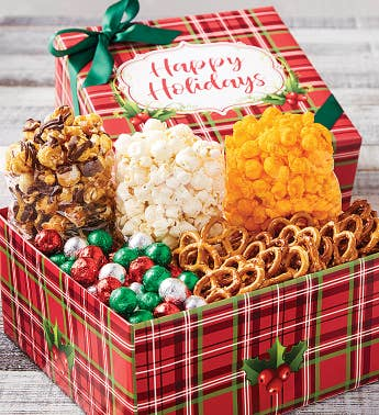 Holly Plaid Happy Holidays Petite Snack Box