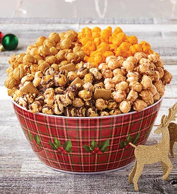 Holly Plaid Popcorn Bowl