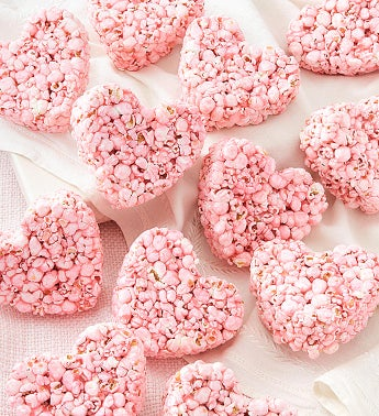 24 Strawberry Flavored Popcorn Hearts