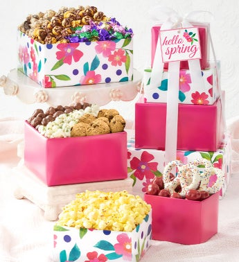 Floral Dot 4-Tier Spring Tower