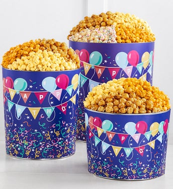 Birthday Balloons Popcorn Tins 2-Gallon 4-Flavor