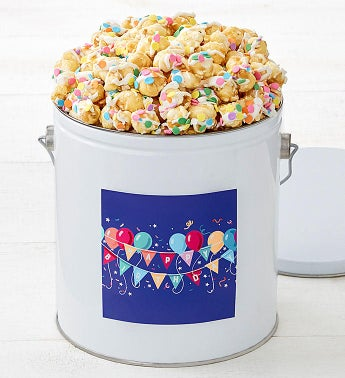 Birthday Balloons Celebration Cornfetti 1-Gallon Popcorn Pail by The Popcorn Factory