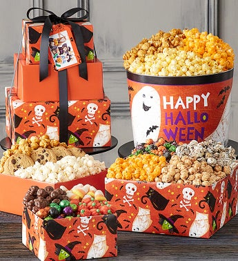 Ghostly Gala 3 Tier Tower and Popcorn Tin
