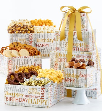 New! Birthday Brilliance 4-Tier Tower by The Popcorn Factory