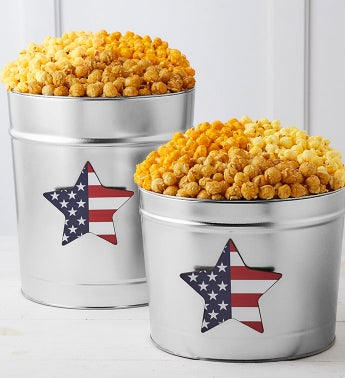 Patriotic Magnet 3-Flavor Popcorn Tins 2-Gallon Tin by The Popcorn Factory