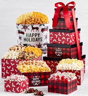 Very Merry Plaid 5-Tier Tower and 2 Gallon Tin