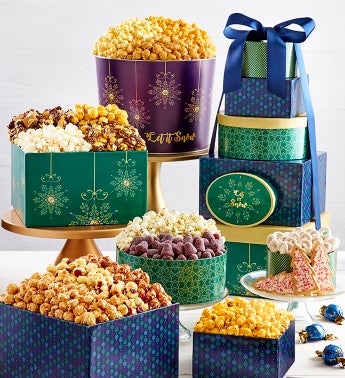 Let It Snow 6-Tier Gift Tower & 2-Gallon Popcorn Tin