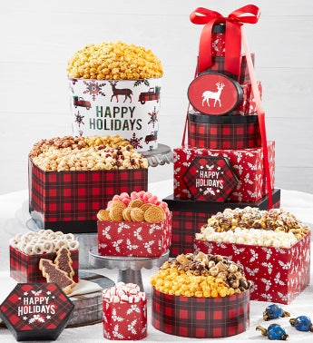 Very Merry Plaid 8-Tier Gift Tower with 2-Gallon Popcorn Tin