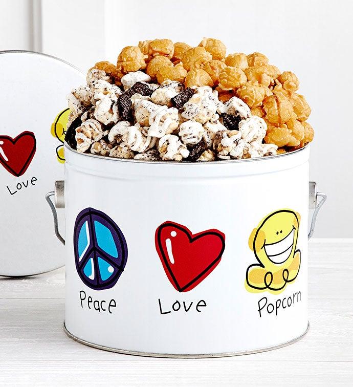 Peace Love  Popcorn  Gallon Pail