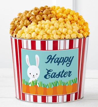 Happy Easter Bunny With Carrots 1.75 Gallon 3-Flavor Popcorn Tin