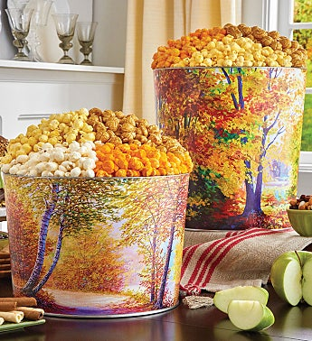 Autumn Canvas Popcorn Tins
