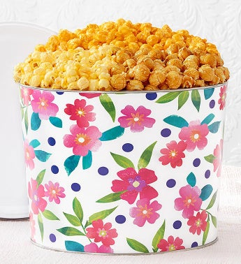 Floral Delight 2 Gallon Popcorn Tin