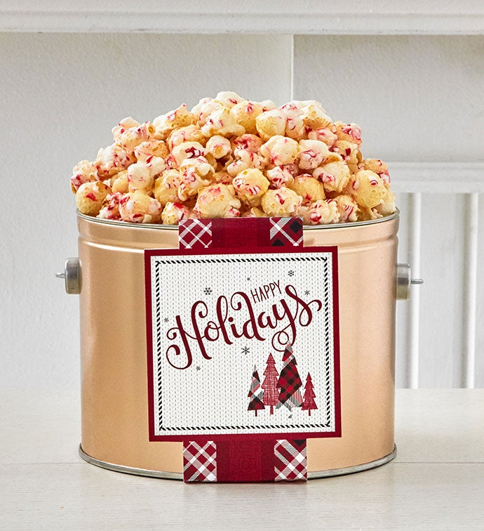 Cozy Plaid Happy Holidays 1/2 Gallon Holday Pail