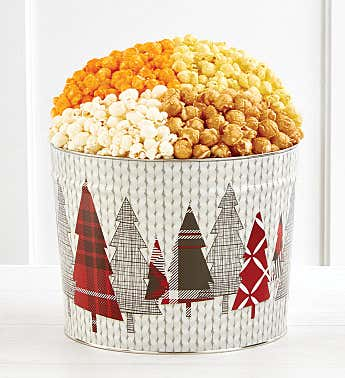 Cozy Plaid Happy Holidays Popcorn Tins