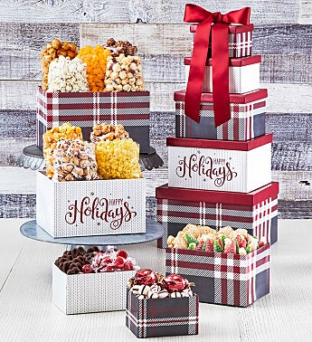 Cozy Plaid Happy Holidays 5-Box Gift Tower