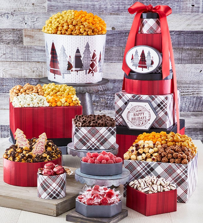 Cozy Plaid Happy Holidays 8 Box Gift Tower & 2 Gallon Popcorn Tin