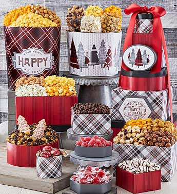 Cozy Plaid Happy Holidays 8 Box Gift Tower & 2 Popcorn Tins