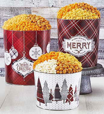 Cozy Plaid Merry Christmas Popcorn Tins