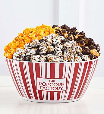 Retro Reusable Popcorn Bowl with 3 Popcorn Flavors