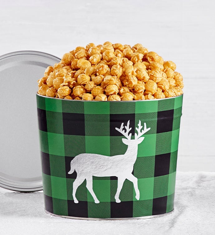 Very Merry Plaid 1.75 Gallon Reindeer Caramel Popcorn Tin