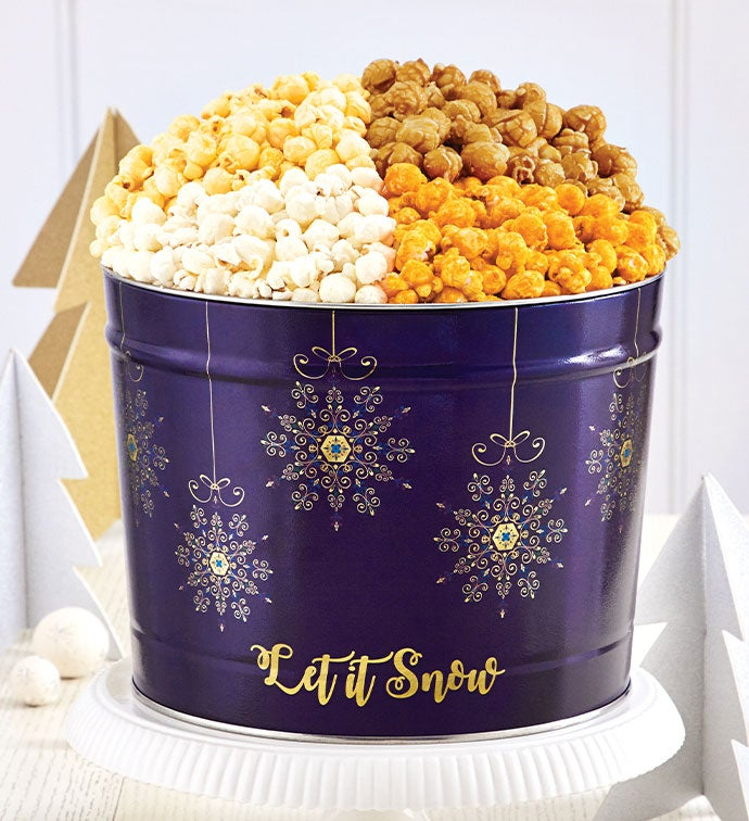 Let It Snow 2 Gallon 4 Flavor Popcorn Tin