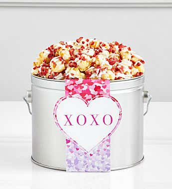 1/2 Gallon Popcorn Pail Bursting With Love Strawberry Champagne