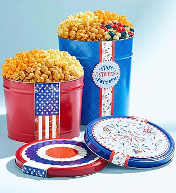 Red, White, & Patriotic Popcorn Tins