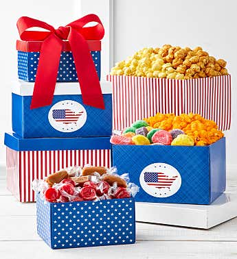 Red, White, And Patriotic 3-Box Gift Tower