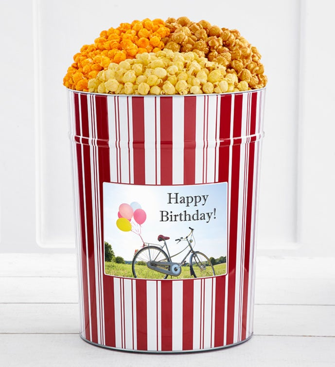 Tins With Pop® 4 Gallon Happy Birthday Bike