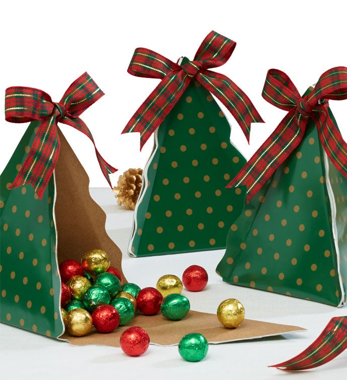 set of three christmas tree gift boxes