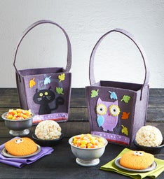 Happy Halloween Owl & Black Cat Felt Totes