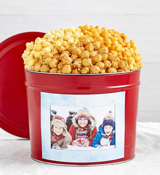 Simply Red 6.5-Gallon Popcorn Tins with Winter Magnet Photo Frame