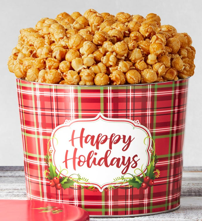 1.75 Gallon Holly Plaid Happy Holidays Popcorn Tins